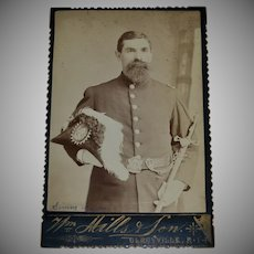 Identified Masonic Man w/ Plume Hat & Scepter Freemason Shriner Cabinet Card Photo