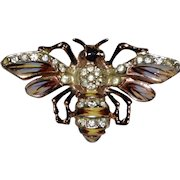Coro Craft Sterling Enamel Gold-Plated Bee Fur Clip
