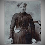 Victorian Ethnic Woman in Black Mourning Dress Windsor Arcade UK Cabinet Card Photo
