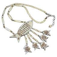 Massive Carved Bovine Fish w/ 5 Babies Large Pendant Necklace