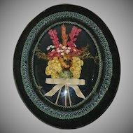 Deep Green Velvet Convex Glass Dried Flowers Wall Art Decor