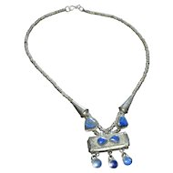 Silvered Brass Ethnic Lapis Lazuli Heart Boho Statement Necklace