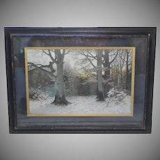 "Circa 1893 ""Christian Evening in the Forest"" Art Engraving by Muller-Kurzwelly in Original Antique Shadowbox Frame"