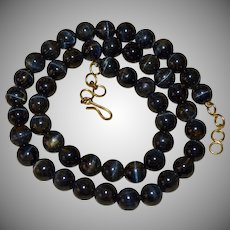 Dark Blue Tiger Eye Stone Bead Necklace
