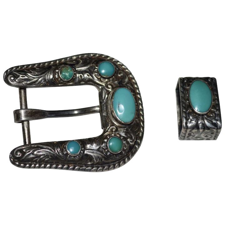 d1b74381a Signed BELL Sterling Silver Southwestern 2-Pc Turquoise Glass Belt : Black  Widow Vintiques | Ruby Lane