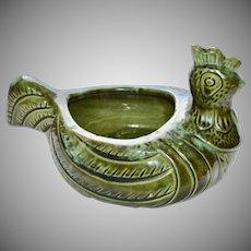 Avocado Green Lava Drip Glaze Modernist Chicken Pottery Planter or Dish