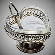 England Made Glass Heart Silver-plated Mayonnaise Relish Candy Dish