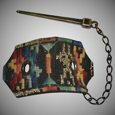 Ethnic Metallic Gold Colorful Embroidered Leather Hair Accessory w/ Bronze Chain Pin
