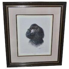 """Huge 31"""" Signed James H. Killen 'THAT'S MY DOG!' Black Poodle Art Print Inscribed in Wood Frame"""