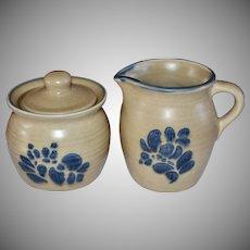 Pfaltzgraff Folk Art Ceramic Pottery Creamer & Sugar Bowl w/ Lid