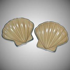 Pfaltzgraff Folk Art Ceramic Pottery Shell Shaped Dish ~ 2 Available