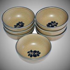Pfaltzgraff Folk Art Castle Mark Set of 7 Cereal or Soup Ceramic Pottery Bowls