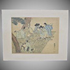 """Signed Large Asian Men Playing """"Go"""" Board Game Woodcut Parchment Art Print"""