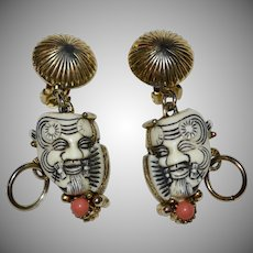 Amazing Selro Noh Mask Devil Warrior DOUBLE SIDED Faux Pink Coral Clip Earrings