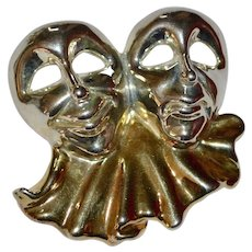 Large Sterling Silver Artisan Comedy & Tragedy Theatre Drama Pendant or Pin/Brooch