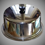 Large Silver Chrome Cake Lid Cover w/ Clear Glass Footed Plate