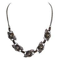 Clear Rhinestone & Silvertone Rose Flower Necklace