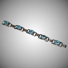Signed Daniel Martinez Sterling Silver Blue Morenci Turquoise Link Bracelet