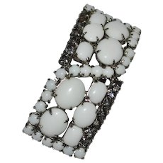 Circa 1930s Heavy White Milk Glass & Rhinestone Brooch/Pin