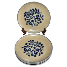 Pfaltzgraff Folk Art Castle Mark Set of 4 Ceramic Pottery Dinner Plates