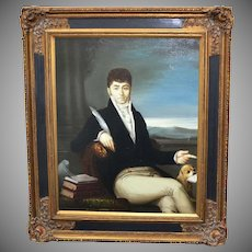 Signed Male Aristocrat in Regency Fashion w/ King Charles Spaniel Dog Oil Painting in Ornate Frame