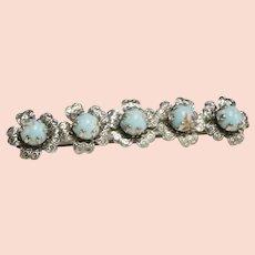 Large Blue Glass Turquoise Silvertone Flower Barrette Hair Clip
