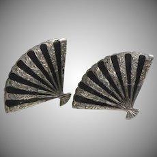 Signed Sterling Silver Siam Niello Black Enamel Screwback Earrings