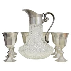 Signed Hand Cast 9-Piece Pewter Goblet & Glass Decanter Set