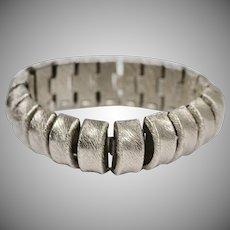 Signed Marino Curvilinear Silvertone Wide Snake Bracelet