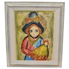 Signed 1962 Roger Etienne Dark Eyed Girl w/ Doll Original Newspaper & Oil Painting