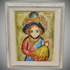 Signed 1962 Roger Etienne Dark Eyed Girl w/ Doll Original Newspaper & Oil Painting