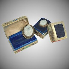 Early 1900s Carved Jade Gilt Silver Chinese Ring & Fur Clip in Original Boxes