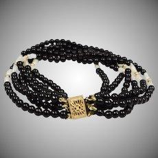 14K Gold Black Onyx & Freshwater Pearl Multiple Strand Bracelet