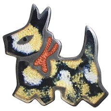 Signed Jeronimo Fuentes Sterling Silver Black & Gold Enamel Scottie Dog Pin