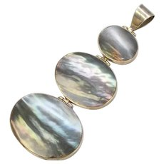 "Huge 3.5"" Sterling Silver & Abalone Shell Pendant"