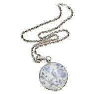 Large Goldette Signed Asian Inspired Blue & White Bird Locket Pendant Necklace