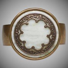 Jan Michaels Bohemian Style Moss Agate Brass Cuff Bracelet