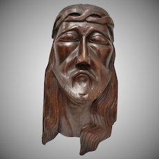 "Large & Heavy ""Jesus Christ"" Solid Wood Wall Art Sculpture"