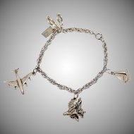 Sterling Silver Hawaii Souvenir Airplane, Flip Flops, Hibiscus & Mechanical Sailboat Charm Bracelet