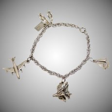 Sterling Silver Hawaii Souvenir Airplane, Flip Flops, Hibiscus & Mechanical Sailboat Charm Bracelet