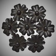 Victorian Era Black Gutta Percha Mourning Flower Cluster Brooch/Pin