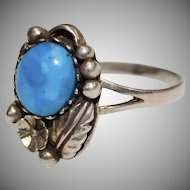 Sterling Silver Blue Glass Faux Turquoise Southwestern Style Peyote Flower Ring