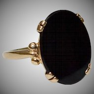14k Gold Oval Black Onyx Ring