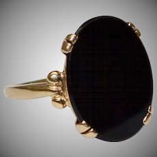 14k Gold Oval Black Onyx Ring