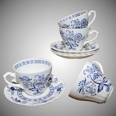 J & G Meakin England 8-Pc Blue Nordic Classic White Ceramic Cup & Saucer Set
