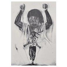 Pen-Signed Eugene E. White Titled FREE? Black Girl Jumping Rope Large B&W Art Print