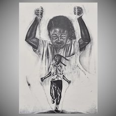 Pen-Signed Eugene E. White Titled FREE? Black Girl Jumping Rope Large B&W Art Print
