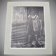 Signed Eugene E. White Titled 'HABARI' Black Boy Cafe Newspaper Peddler Large B&W Art Print
