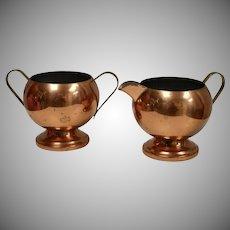 Copper by Rosemar USA 2-Pc Copper / Brass Open Sugar & Creamer Set