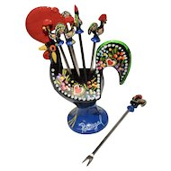 Colorful Portugal Made 7 - Piece Glass Rooster Appetizer Picks w/ Holder